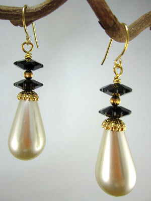 Pearl drop and black crystal earrings
