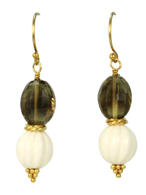 Bone, quartz and vermeil accent earrings