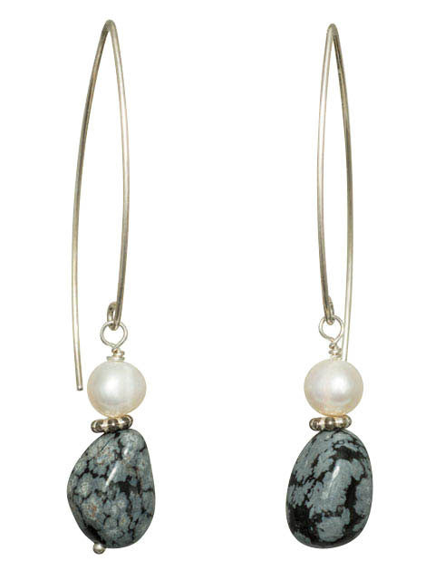 Blue obsidian and white pearl earrings