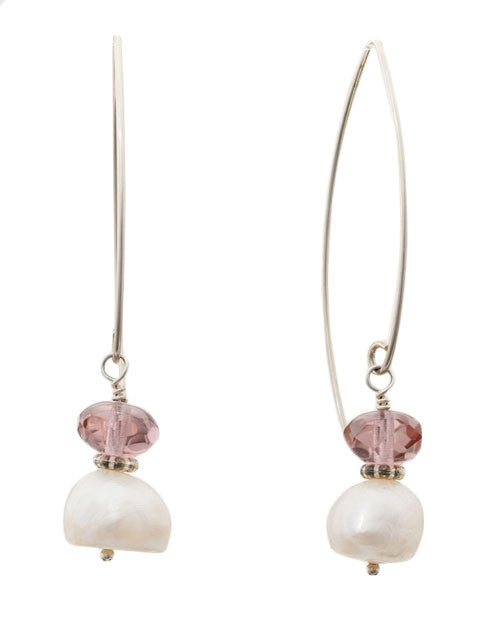 White pearl and rose crystal earrings