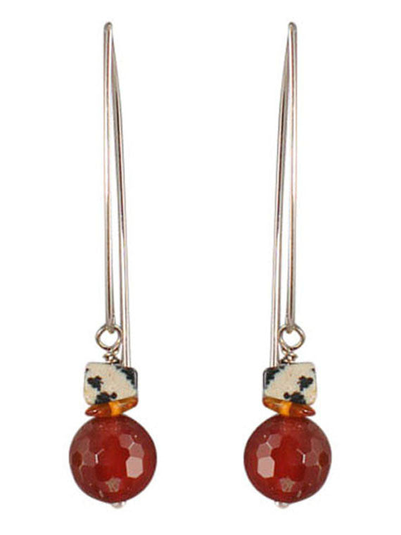 Carnelian and spotted jasper earrings
