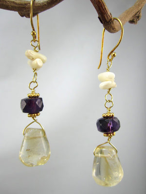 Citrine, smoky quartz and white coral earrings