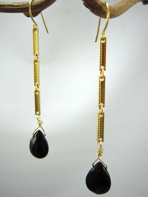 Onyx briolette on gold chain