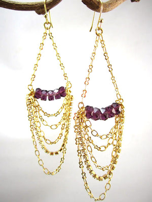 Crystal, rhinestone and draped chain earrings