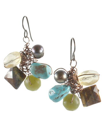 Wire wrapped five gemstone earrings