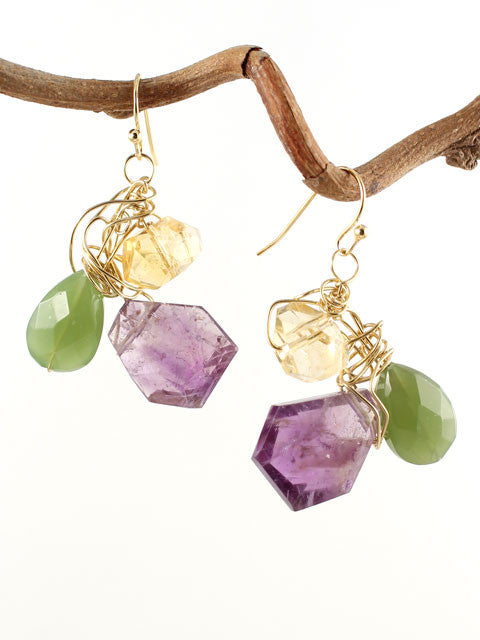 Wire wrapped three gemstone earrings