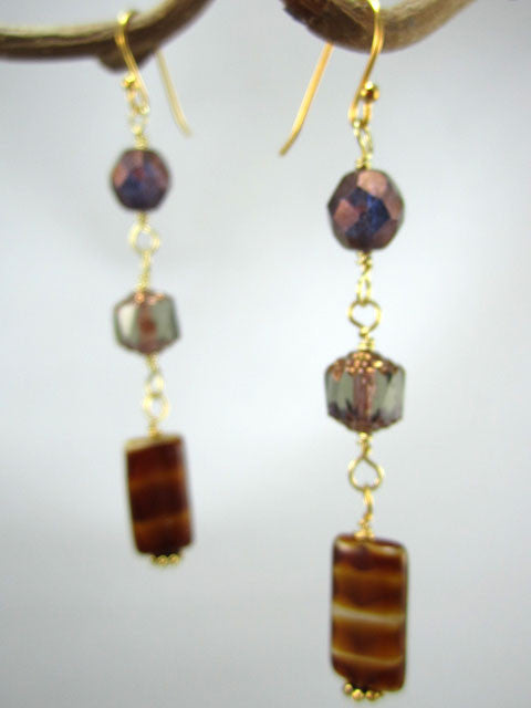 E217 Shades of brown triple crystal earrings