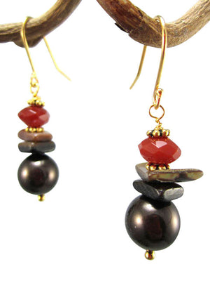 Brown pearl and carnelian earrings