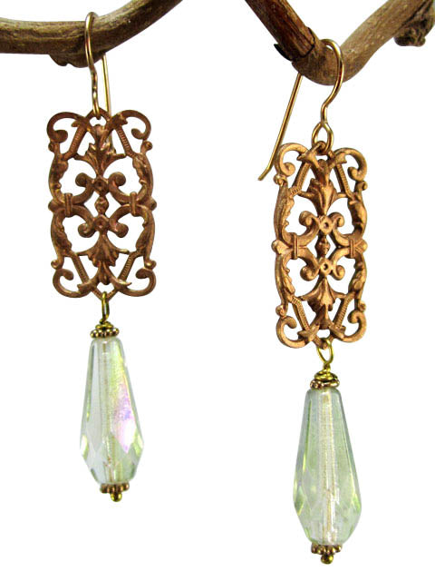 Brass filigree and crystal earrings