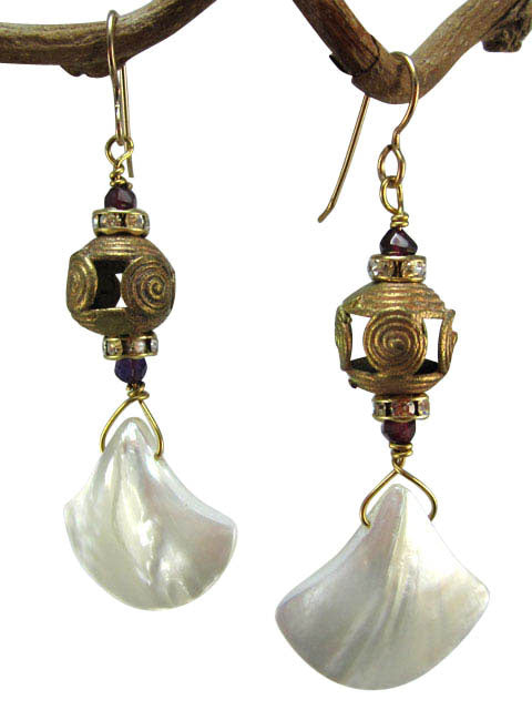 Mother of pearl and African brass earrings