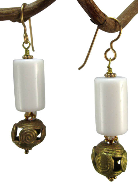 White lucite and Africa brass earrings