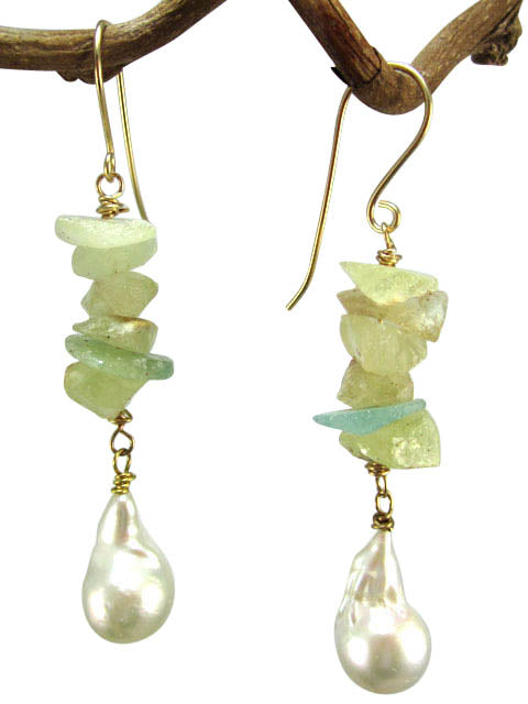 Ancient glass and pearl earrings