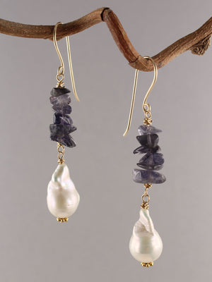 Iolite and pearl dangle earrings