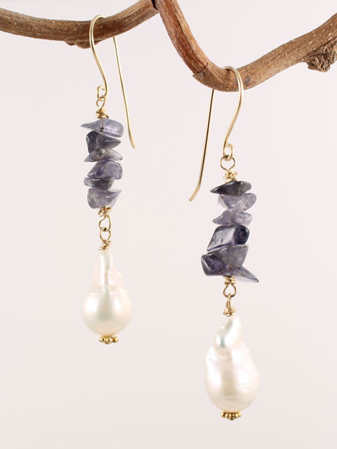 Iolite and pearl drop earrings