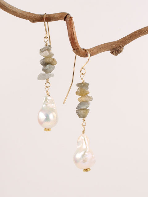 Labradorite and pearl earrings
