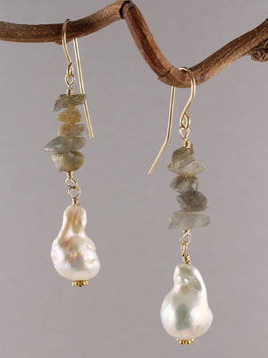 Labradorite and pearl drop earrings