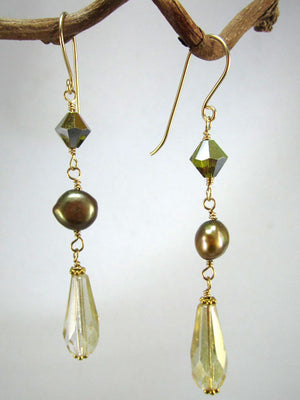 Freshwater pearl and crystal triple drop earrings
