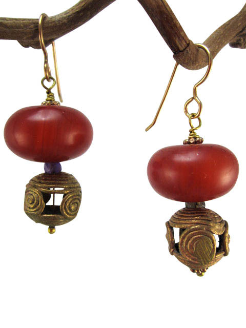 African brass bead and amber resin earrings