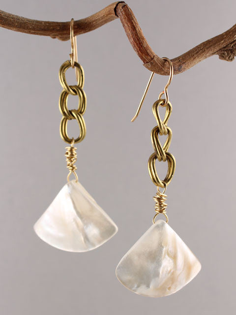 Mother of pearl fan and brass chain earrings