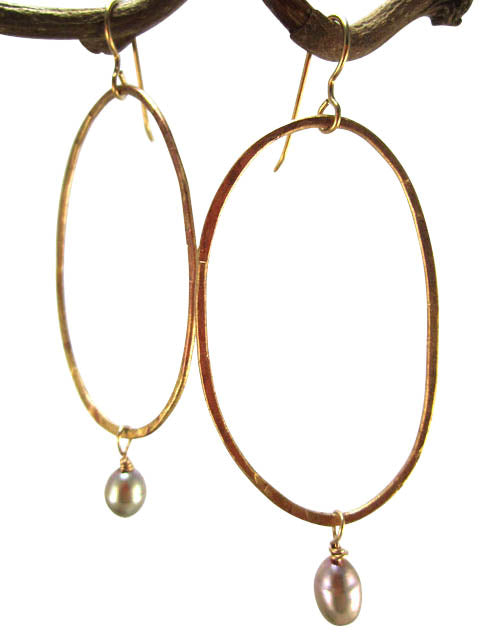 Hand hammered hoops with pearl drop earrings