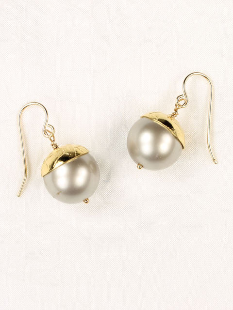 White crystal pearl textured gold bead cap earrings