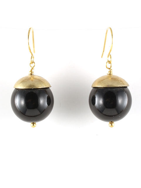 E230C Swarovski pearls with handmade brass bead cap earrings