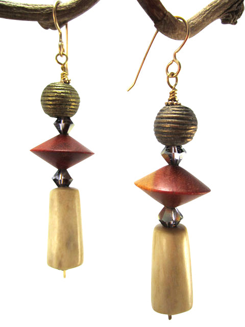 Horn, crystal and African brass earrings