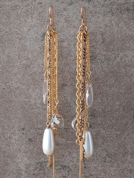 Mixed metal chains and crystals earrings