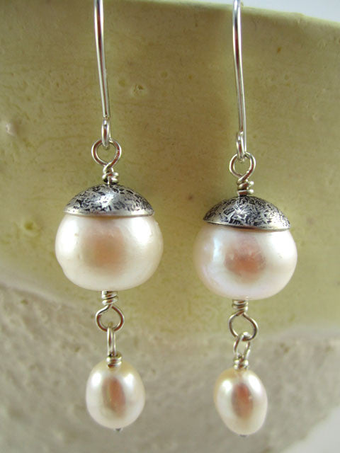 White pearls with oxidized bead cap earrings