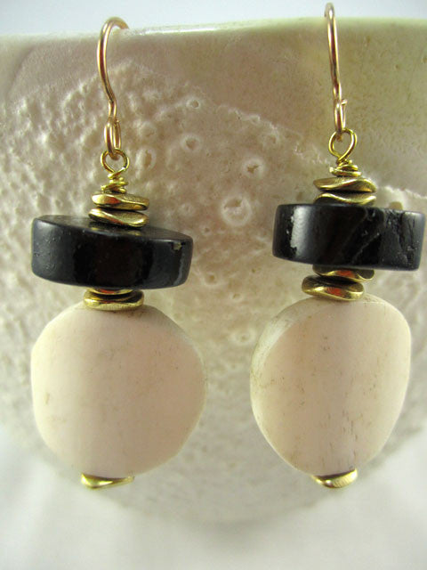 Bone disks with black coral earrings