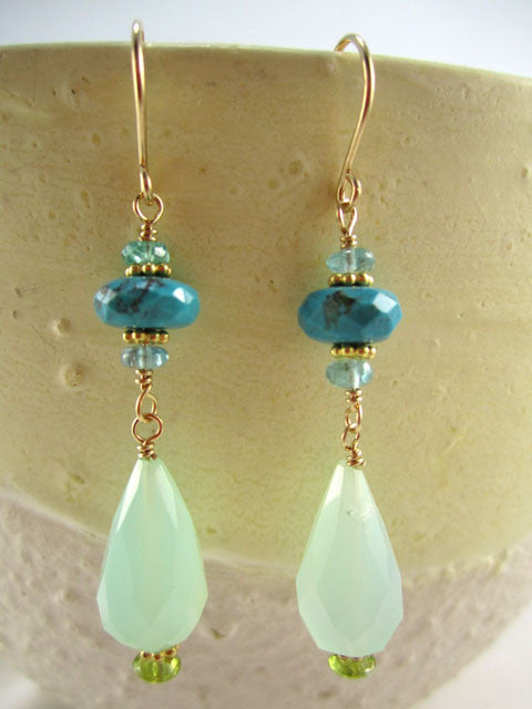 Jade and turquoise drop earrings