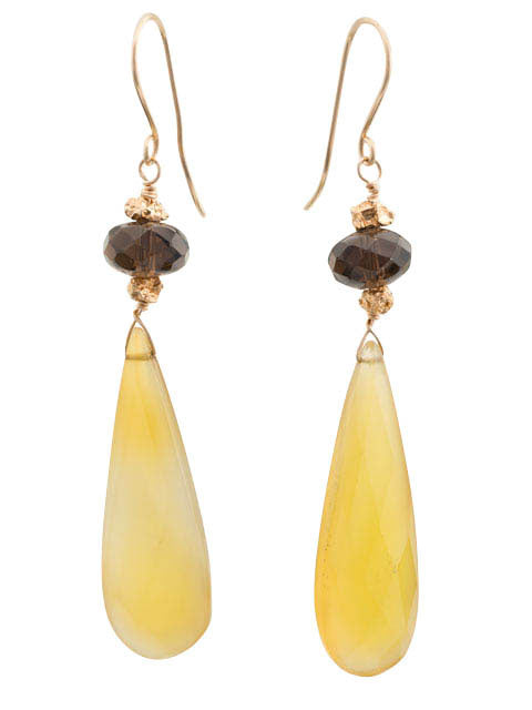 E241 Yellow briolette and smoky quartz earrings