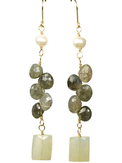 Pearl, labradorite and pale yellow dangle earrings