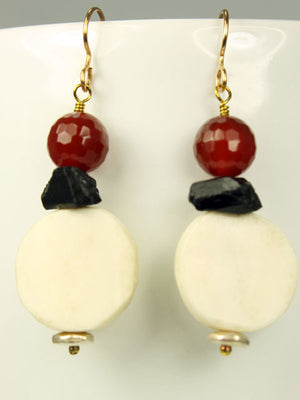 Bone, tourmaline, and carnelian earrings