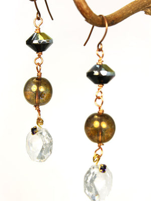 Czech crystal three tiered earrings
