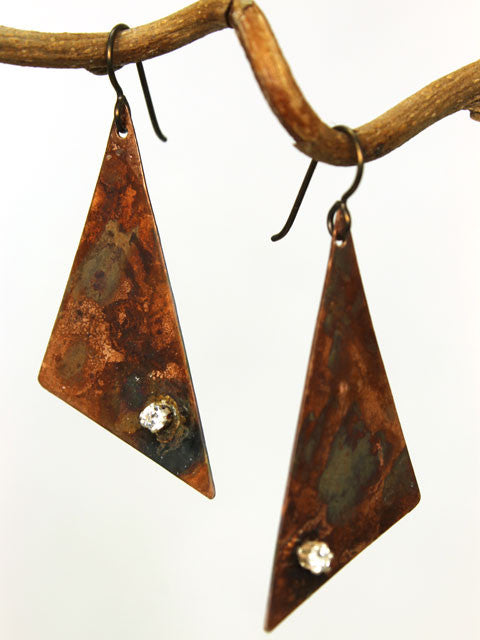 Patina copper and CZ medium triangle earrings