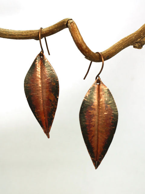 E246 Hammered copper leaf earrings