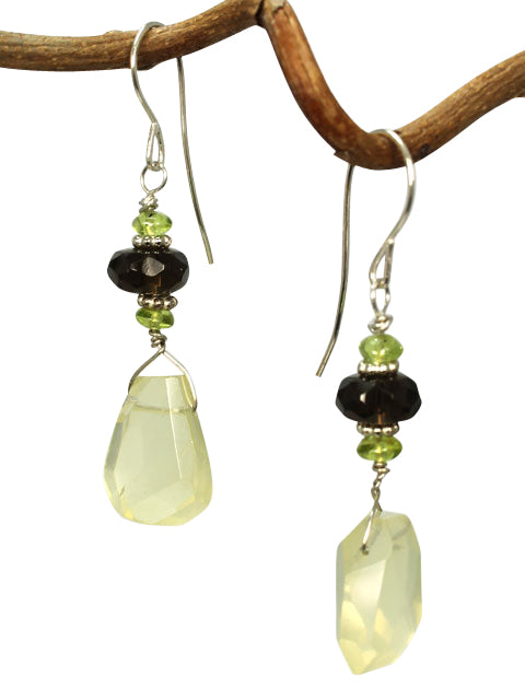 Faceted citrine and smokey quartz earrings