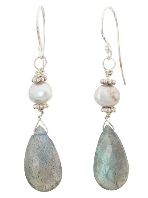 Grey labradorite teardrop and pearl earrings