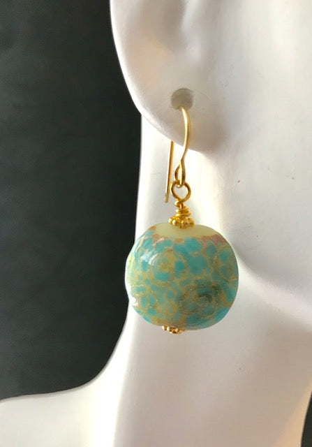 Blue and gold glass bead earrings