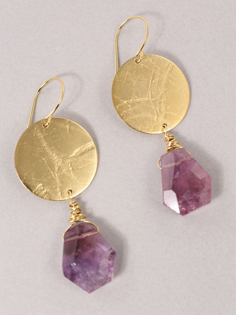 Gold disk amethyst nugget earrings