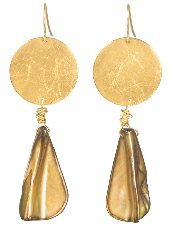 Gold disk brown shell earrings