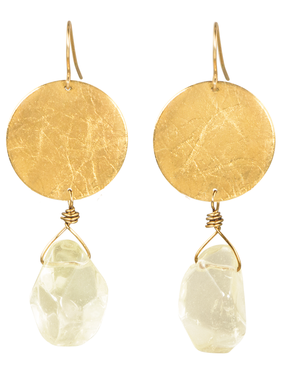 Gold disk citrine dangle earrings
