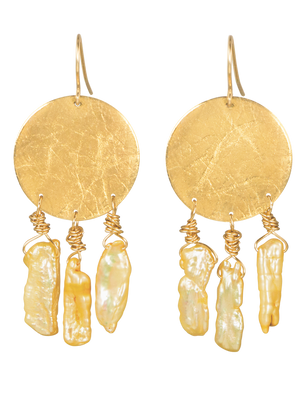 Gold disk yellow pearl earrings