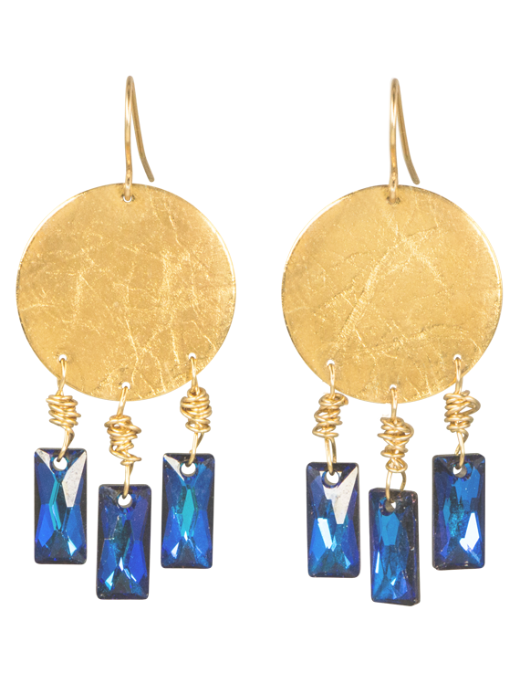 Gold disk blue crystal earrings