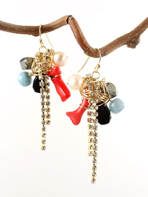 Wire wrapped gemstones rhinestone chain earrings