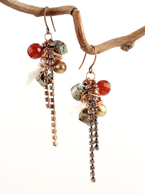 Wire wrapped gemstones copper crystal chain earrings