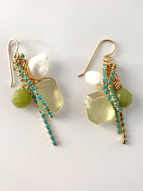 Wire wrapped gemstones turquoise chain earrings