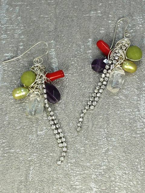 E255A Wire wrapped beads with rhinestone chain earrings