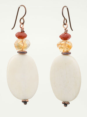 Bone, citrine and carnelian earrings